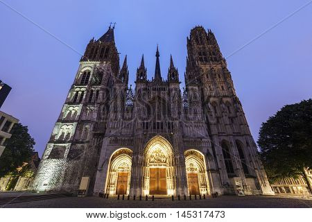 Rouen Cathedral Notre-Dame at sunset. Rouen Normandy France