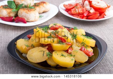 Stewed Potatoes With Bell Pepper Closeup