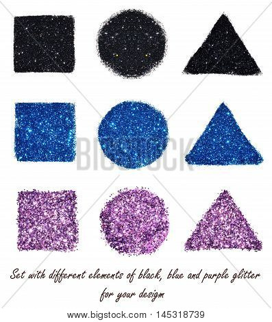 Set with different elements of black, blue and purple glitter on white background for your design
