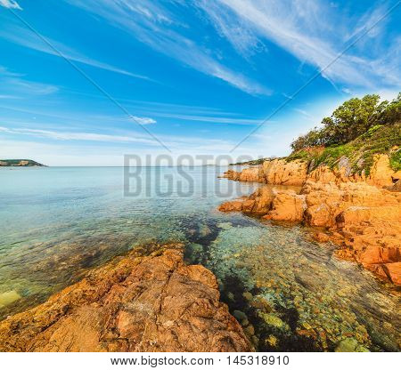 Piccolo Pevero beach under a blue sky Sardinia