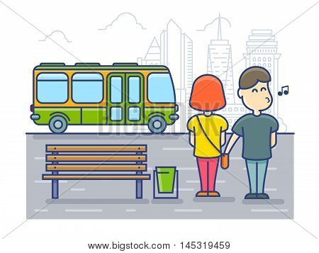 Pickpocket steals money cash from bag, Robbery at the bus stop. Vector illustration.