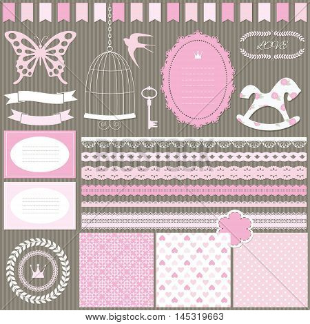 Cute scrapbook design elements set - frame garland card lace ribbon bird cage paper cut butterfly horse laurel wreath crown key and three romantic seamless pattern background.