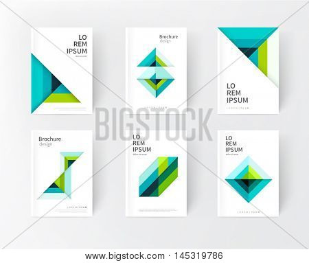 minimalistic cover design idea. abstract geometric modern background. green & blue triangles and diagonal lines & color strips. creative concept flyer, brochure, textbook, stationery template