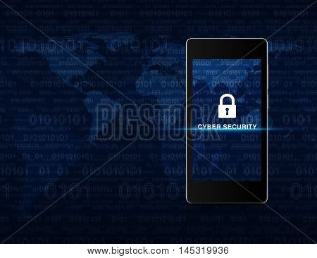 Key icon and cyber security text on modern smart phone screen over computer binary code and map Cyber security concept Elements of this image furnished by NASA
