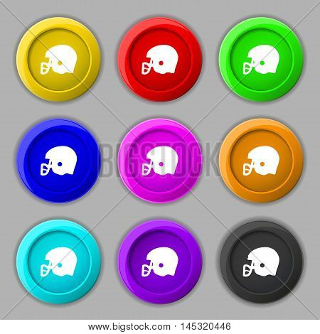 American Football Helmet Icon Sign. Symbol On Nine Round Colourful Buttons. Vector