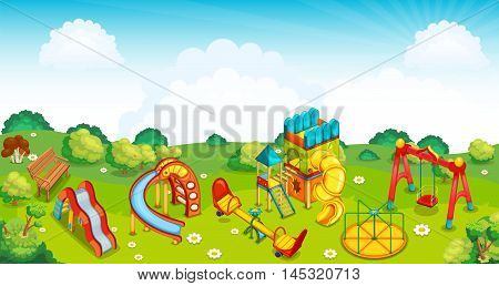 Playground on the meadow. Slides, swings and roundabout. Vector illustration.