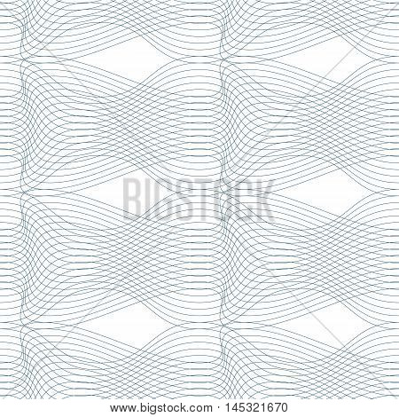 Black and white vector endless pattern created with thin undulate stripes seamless netting composition.