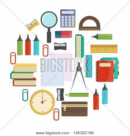Vector illustration of education object on back to school background. Color supplies school background education concept. Drawing blank template notebook school background equipment.