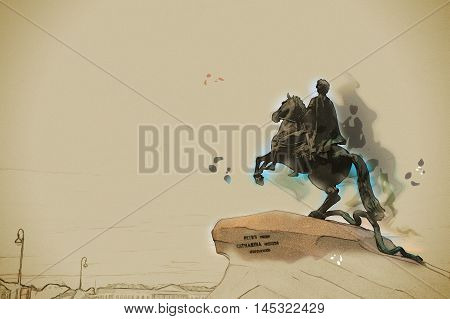The Bronze Horseman - equestrian statue of Peter the Great in Staint-Petersburg, Russia. Vintage painting, background illustration, beautiful picture, travel texture