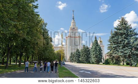 Moscow - August 11 2016: Moscow State University named after Lomonosov on the Sparrow Hills and students go to study August 11 2016 Moscow Russia