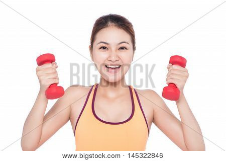 Young fitness asian woman with dumbbell. Isolated on white.