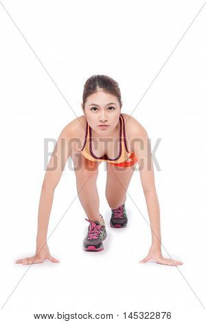 Running fitness asian woman isolated on white background.