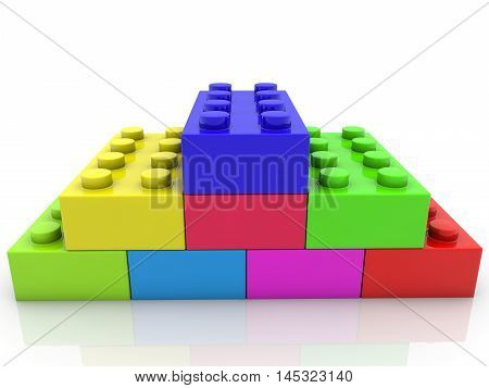 Stacked toy bricks in various colors . 3D illustration