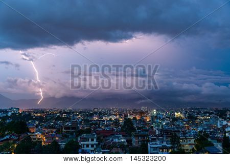 Lightning bolt over Patan and Kathmandu in Nepal