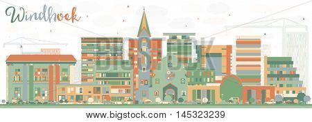 Abstract Windhoek Skyline with Color Buildings. Vector Illustration. Business Travel and Tourism Concept with Modern Buildings. Image for Presentation Banner Placard and Web Site.