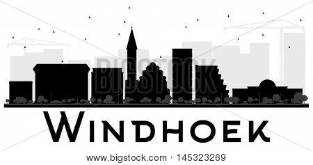 Windhoek City skyline black and white silhouette. Vector illustration. Simple flat concept for tourism presentation, banner, placard or web site. Business travel concept. Cityscape with landmarks