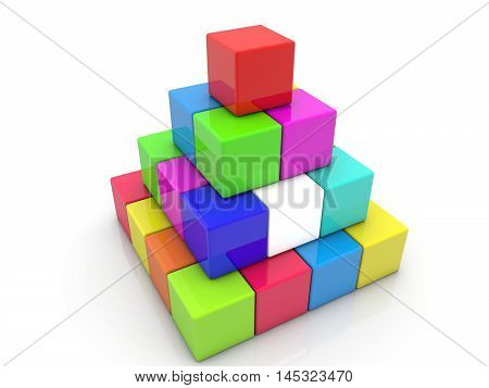 Stacked toy cubes in pyramid on white . 3D illustration