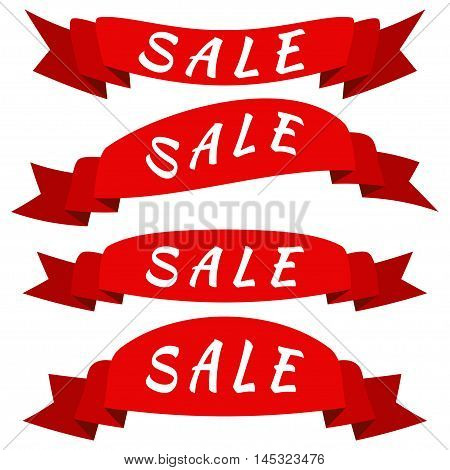 Vector banner Sale ribbons. Set of 4 items