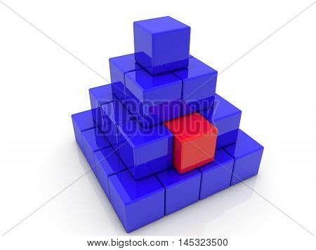 Stacked toy cubes in pyramid in blue and red color on white . 3D illustration