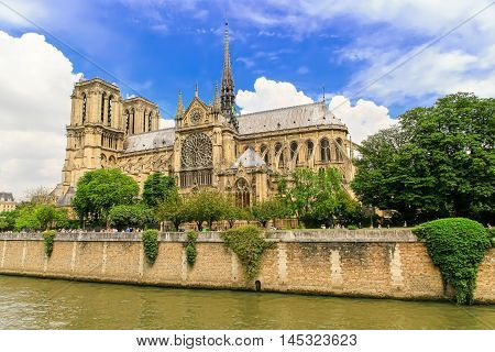 Paris, France - May 28, 2016: The Cathedral of Notre Dame de Paris on May 27, 2016 in Paris. Notre-Dame is one of the largest and