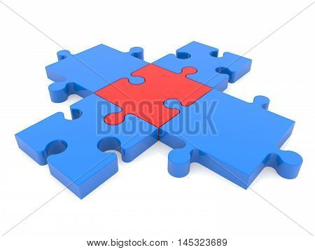 Puzzle pieces in blue and red colors . 3D illustration