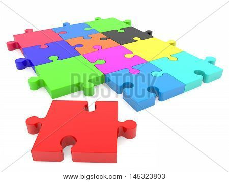 Puzzle pieces in various colors with one missing red . 3D illustration