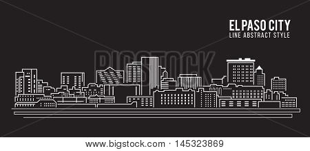 Cityscape Building Line art Vector Illustration design - El Paso city