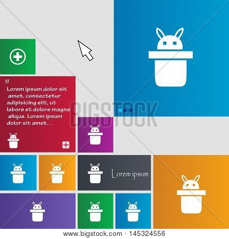 Magician Hat. Rabbit Ears Icon Sign. Buttons. Modern Interface Website Buttons With Cursor Pointer.