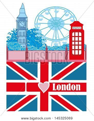 banner with Big Ben , flag - i love London , vector illustration