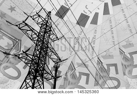 High voltage tower lines and euro banknotes background