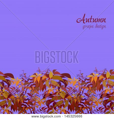 Autumn grape vine border design. Wilde grape with red orange leaves and berries. Horizontal bottom design. Colorful autumn or fall banner template. Vector illustration stock vector.