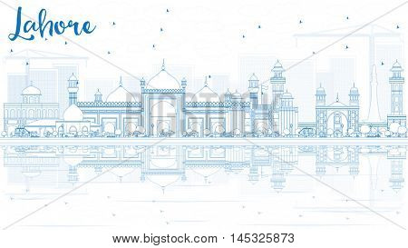 Outline Lahore Skyline with Blue Landmarks and Reflections. Vector Illustration. Business Travel and Tourism Concept with Historic Buildings. Image for Presentation Banner Placard and Web.