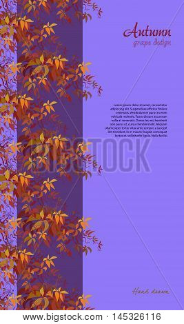 Autumn grape vine border design. Wilde grape with red orange leaves and berries. Vertical stripe colorful autumn or fall banner template. Vector illustration stock vector.