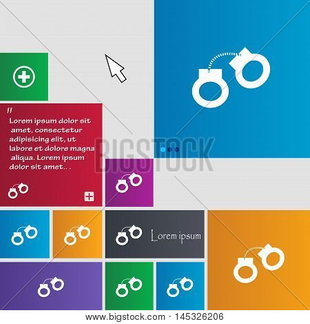 Handcuffs Icon Sign. Buttons. Modern Interface Website Buttons With Cursor Pointer. Vector