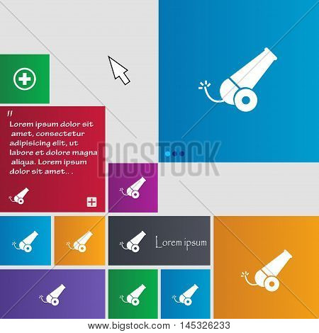 Cannon Icon Sign. Buttons. Modern Interface Website Buttons With Cursor Pointer. Vector