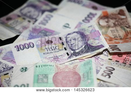czech money, czech crown, money background, on wooden desk, ceska koruna, Various bills as background
