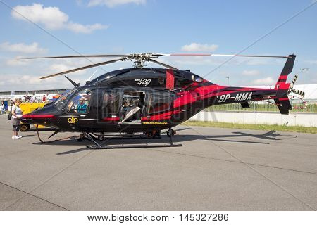 BERLIN GERMANY - JUNE 2 2016: Bell 429 GlobalRanger helicopter on display at the Exhibition ILA Berlin Air Show 2016