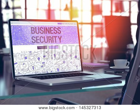Business Security Concept Closeup on Landing Page of Laptop Screen in Modern Office Workplace. Toned Image with Selective Focus. 3D Render.