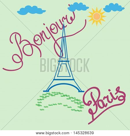 T shirt typography graphic with quote Bonjour Paris. Fashion print for sports wear. Template for t-shirt apparel card poster. Design element. Eiffel Tower as symbol of love. Vector illustration