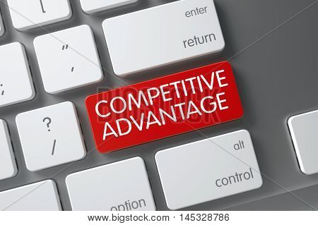 Competitive Advantage Concept Slim Aluminum Keyboard with Competitive Advantage on Red Enter Key Background, Selected Focus. 3D Illustration.