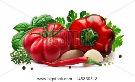 Tomato And Bell Pepper For Canning, Herbs, Garlic,  Paths