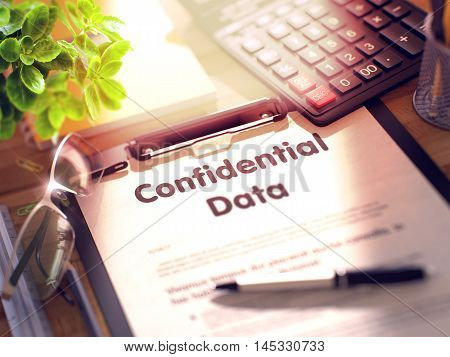 Confidential Data on Clipboard with Paper Sheet on Table with Office Supplies Around. 3d Rendering. Blurred Illustration.