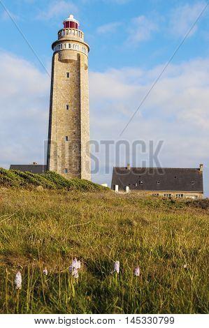 Cap Levi Lighthouse at sunset Fermanville-Bourg, Normandy, France.