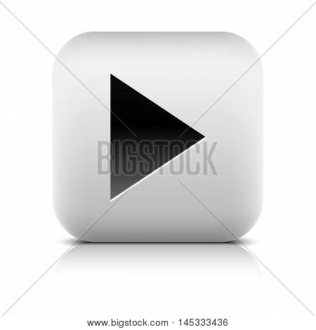 Media player icon with play sign. Rounded square web button with black shadow gray reflection on white background. Series in a stone style. Graphic vector illustration internet design element 8 eps