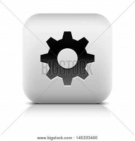 Media player icon with cog settings sign. Rounded square web button with black shadow gray reflection on white background. Series in a stone style. Vector illustration internet design element 8 eps