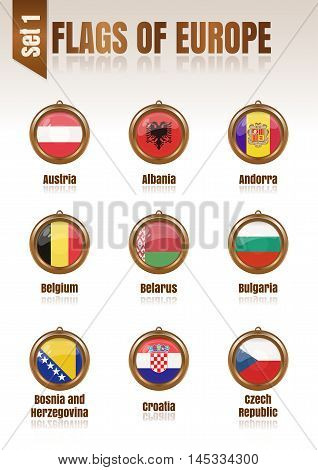 Flags of Europe in the form of circular pendants vector illustration. Set 1.