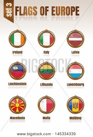 Flags of Europe in the form of circular pendants vector illustration. Set 3.