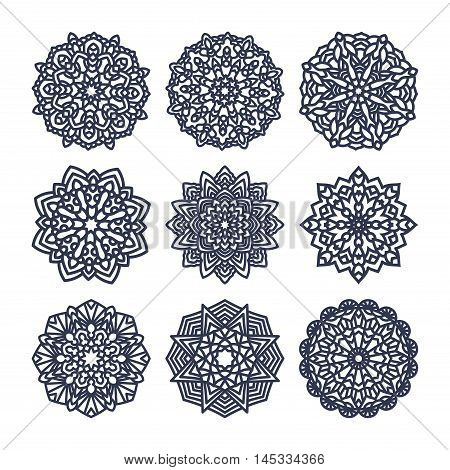 Set of mandalas. Indian wedding meditation. Buddhist medallion. It can be used for tattoo prints on t-shirts design and ad restaurants. for postcards design wedding invitations photo overlays.