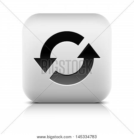 Media player icon with reload sign. Rounded square web button with black shadow gray reflection on white background. Series in a stone style. Graphic vector illustration internet design element 8 eps