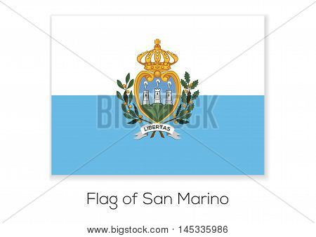 National flag of Most Serene Republic of San Marino. Vector illustration.